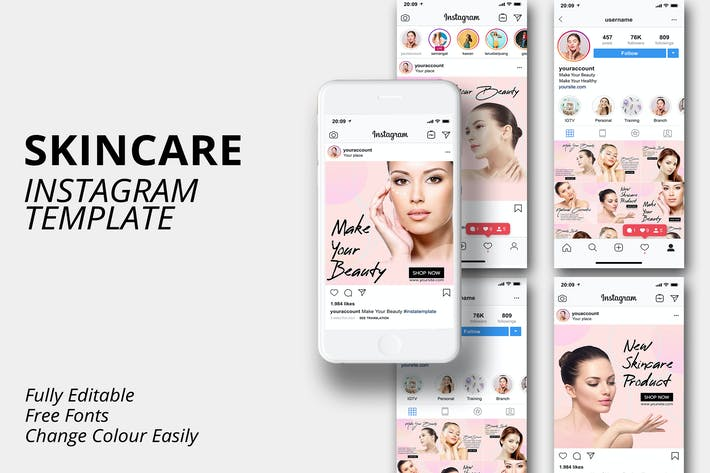MS - Instagram-Vorlage Vorlage die Hautpflege v1