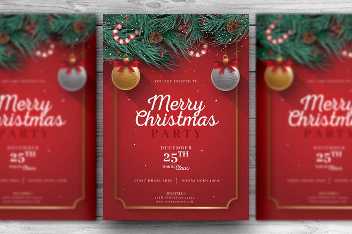 Red and Green Christmas Flyer Template