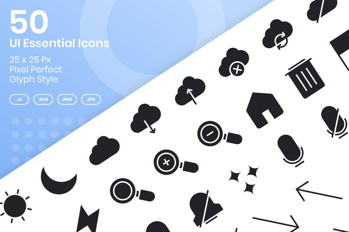 Thumbnail for 50 UI Essential Icons Set - Glyph