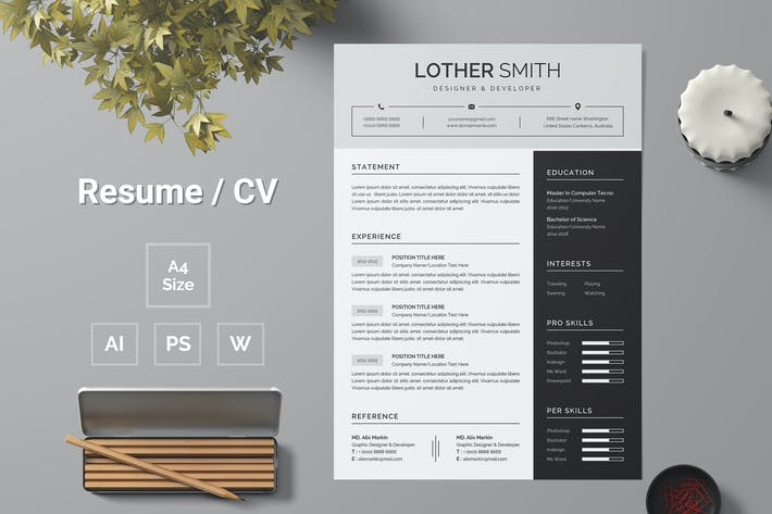 Thumbnail for Resume Template 156
