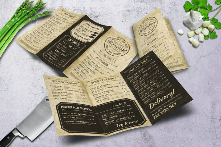 Cover Image For Retro Vintage A4 Trifold Classy Menu