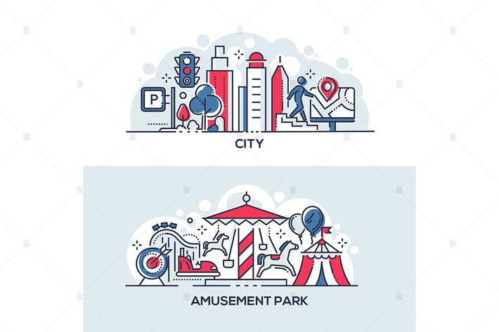 Thumbnail for Modern city and amusement park banners