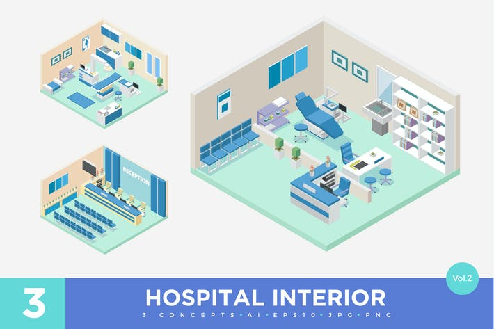 Thumbnail for 3 Isometric Hospital Clinic Interior Vector Set 2