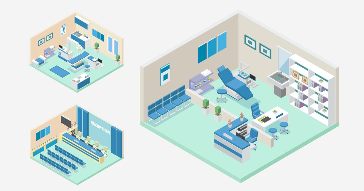 Download 3 Isometric Hospital Clinic Interior Vector Set 2 by naulicrea