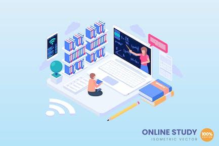 Ilustración del concepto de estudio online