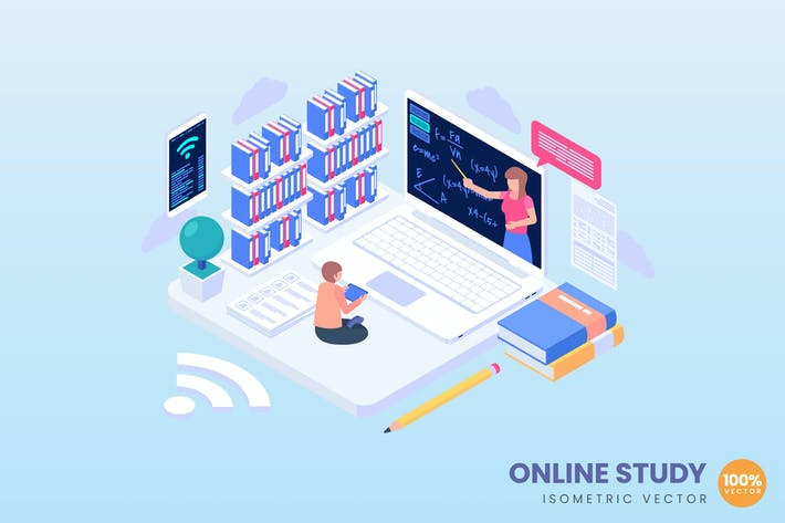 Online Study Concept Illustration