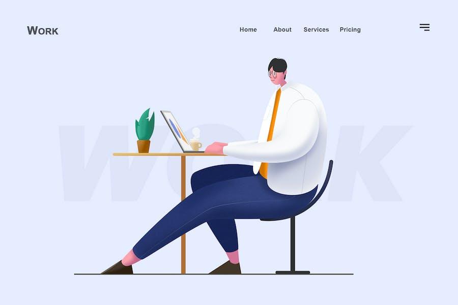 working-flat Illustration