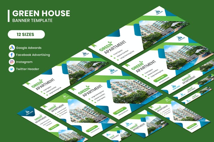 Thumbnail for Real Estate Green Google Adwords Template