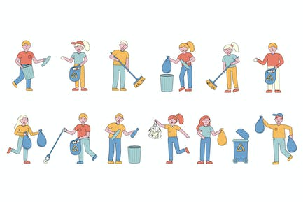 Garbage Lineart People Character Collection