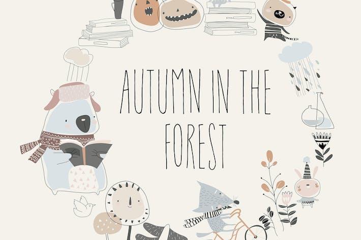 Thumbnail for Niedliche Tiere mit Herbst-Elementen Hallo Herbst.