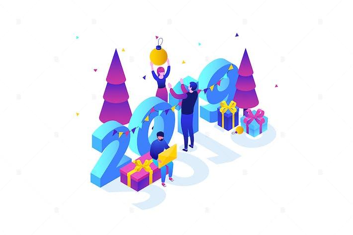 Thumbnail for Alegre Año Novedad - ilustración isométrica Moderno