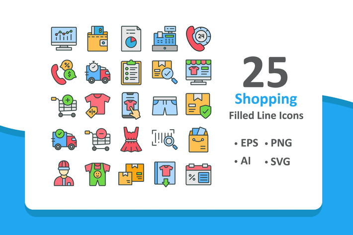 Thumbnail for Shopping Icons - Filled Line