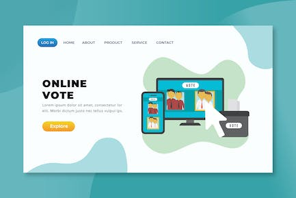 Online Vote - XD PSD AI Vector Landing Page