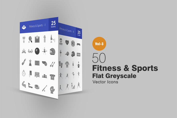 Thumbnail for 50 Fitness & Sports Greyscale Icons
