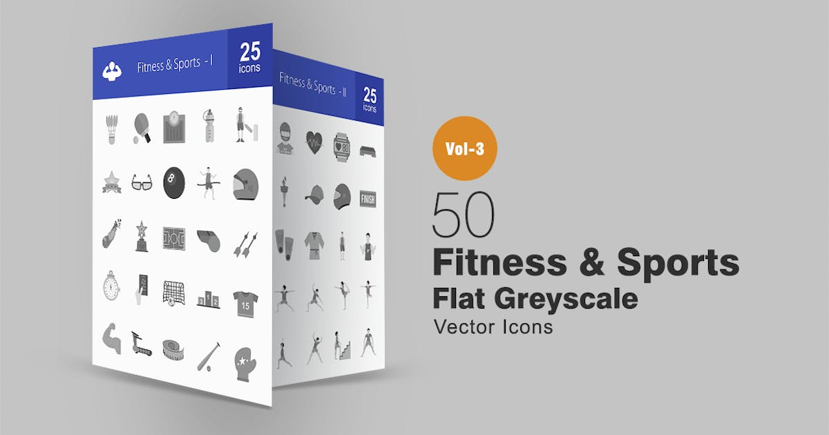 Download 50 Fitness & Sports Greyscale Icons by IconBunny