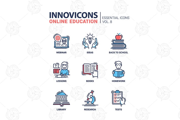 Thumbnail for Online education line design icons set
