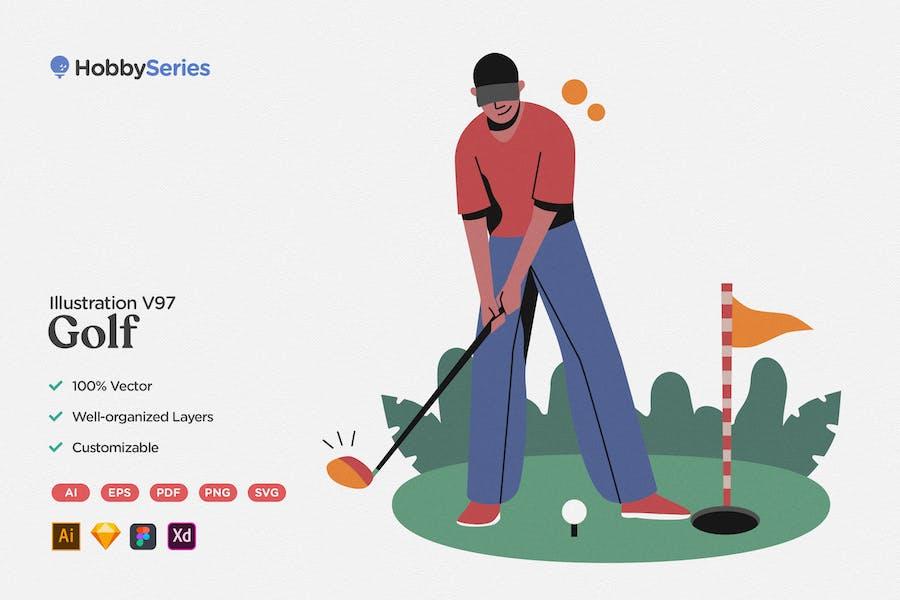 Hobby Illustration: Playing Golf