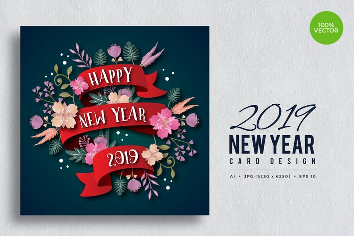 Thumbnail for Happy New Year 2019 Floral Vector Card Vol.4