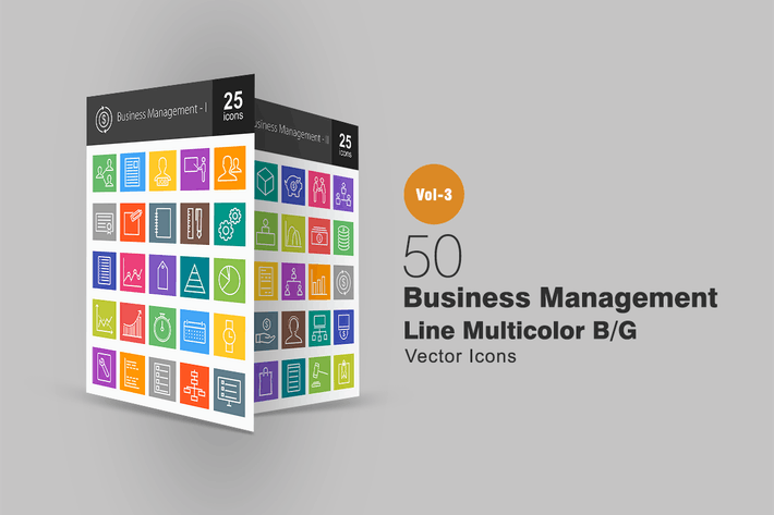 Thumbnail for 50 Business Management Line Multicolor Icons