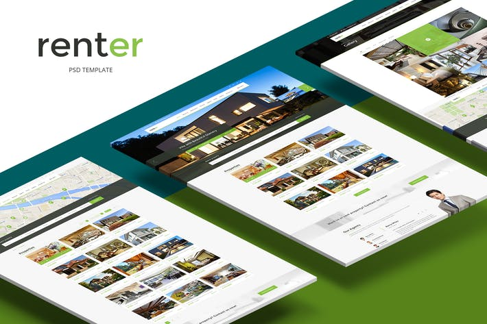 Cover Image For Renter — Rent/Sale Real Estate Agency PSD Template