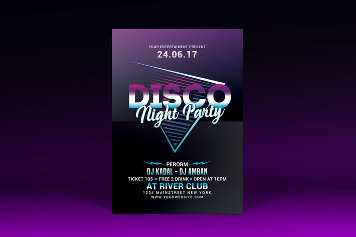 Thumbnail for Disco Night Party Flyer
