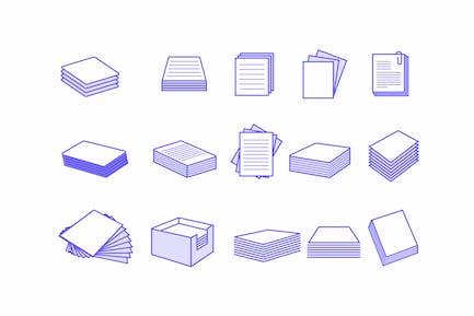 15 Íconos de pila de papel