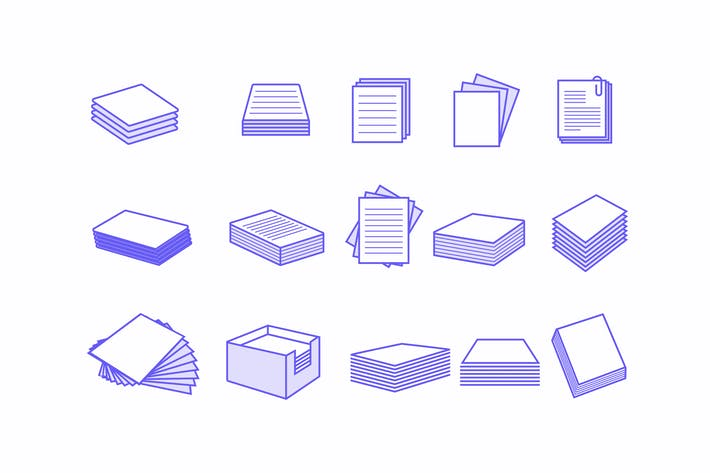 Thumbnail for 15 Paper Stack Icons