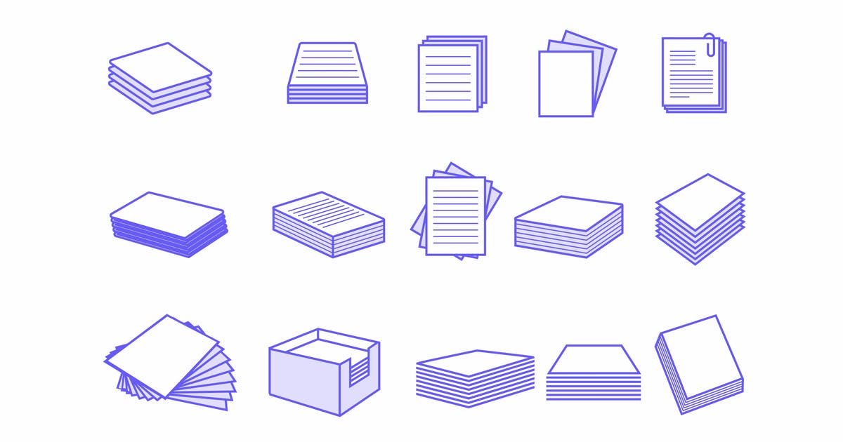 Download 15 Paper Stack Icons by creativevip