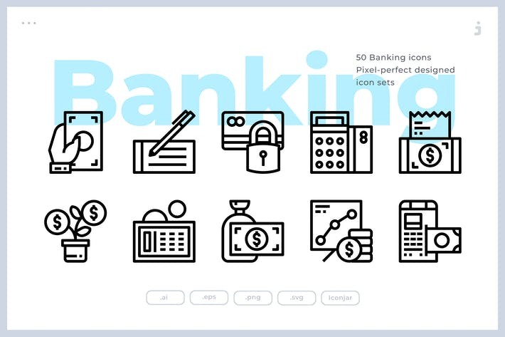 Thumbnail for 50 Banking and Finance Icons