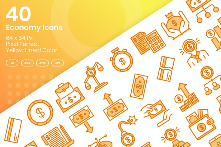Thumbnail for 40 Economy Icons Set - Yellow Lineal Color