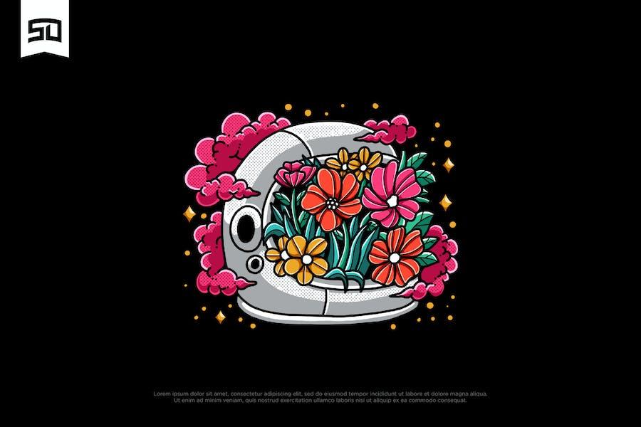 Illustration de conception de casque d'astronaute floral