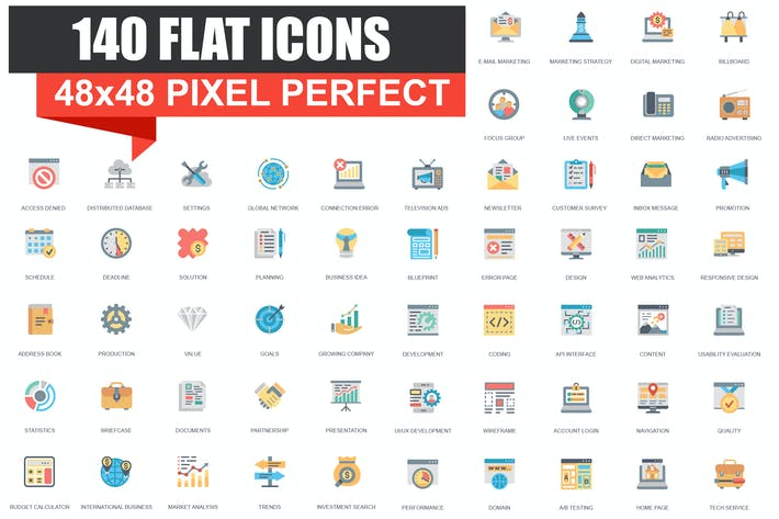 Thumbnail for Set of Flat icons