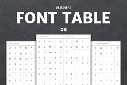 Designers Font Table