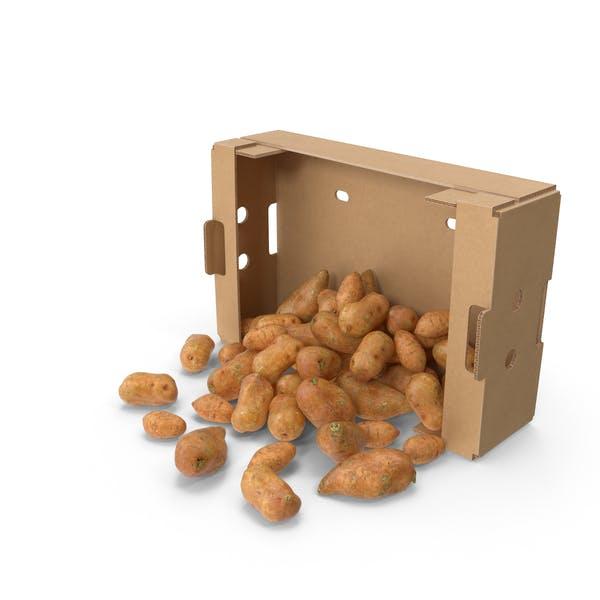 Картонная коробка со сладким картофелем