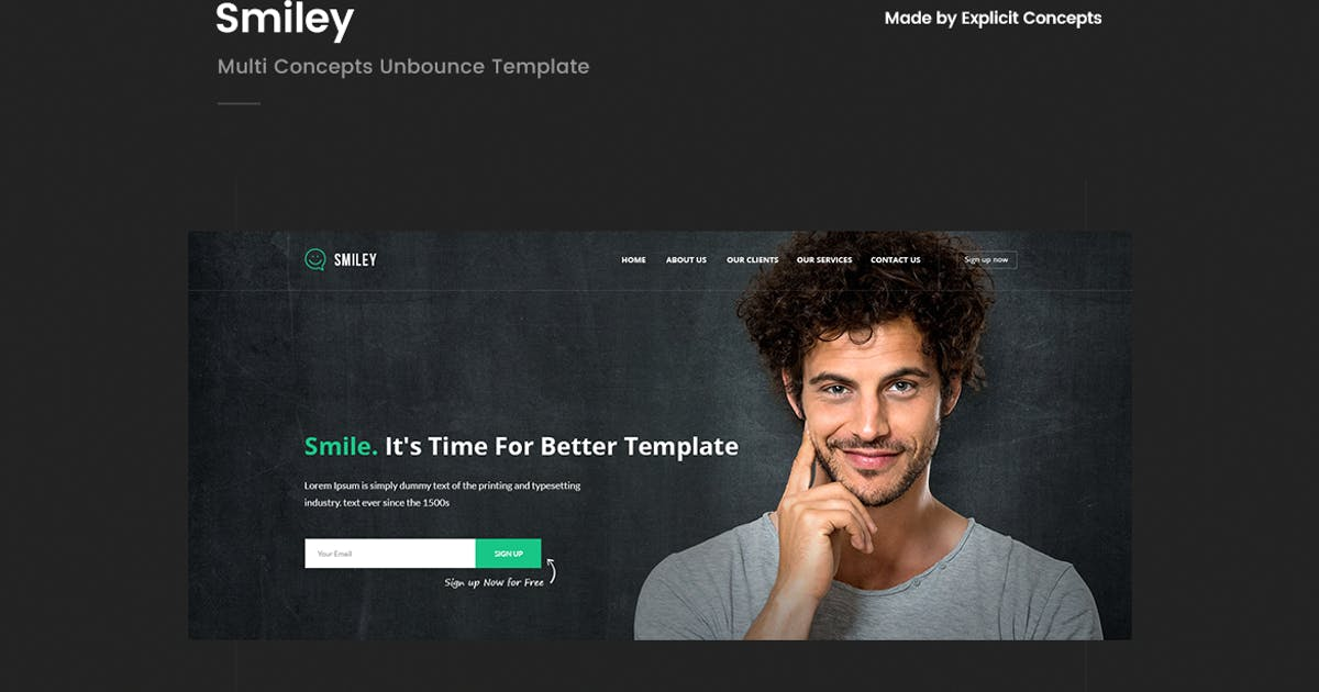 Download Smiley - Multi Concepts Unbounce Template by ExplicitConcepts