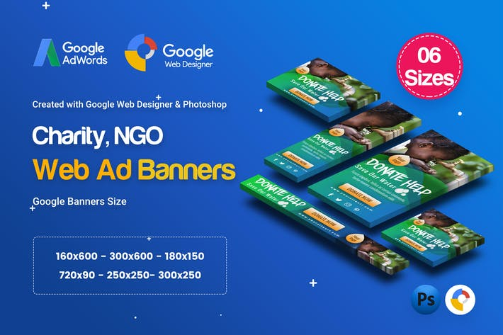 Thumbnail for C34 - NGO, Charity HTML5 Ad - GWD & PSD