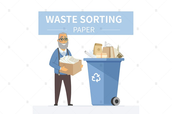 Thumbnail for Paper waste recycling - colorful illustration