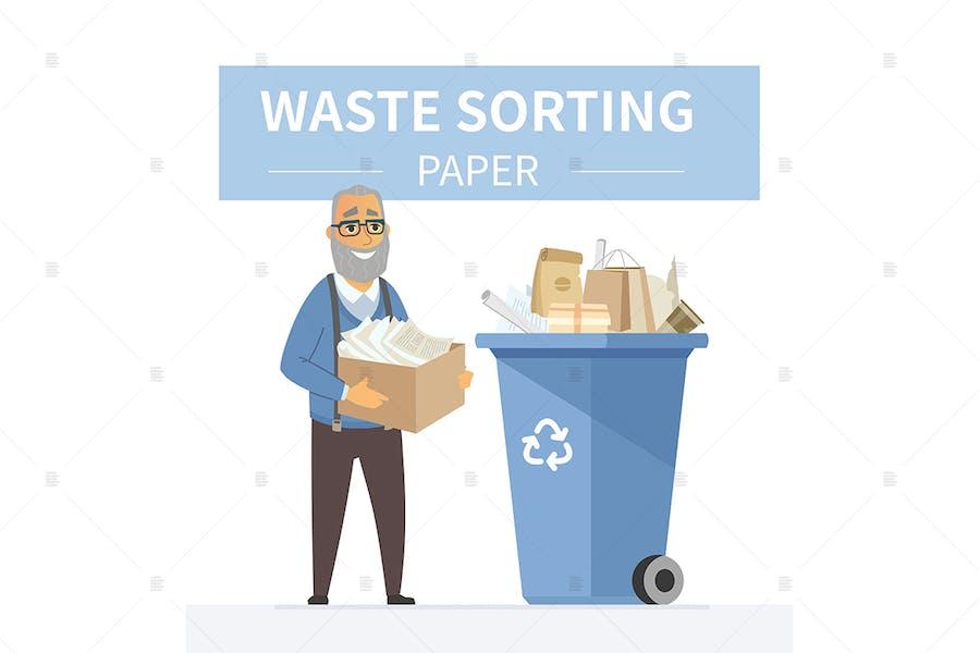 Recycling von Papierabfällen - bunte Illustration