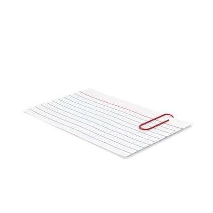 Tarjeta de índice y clip de papel