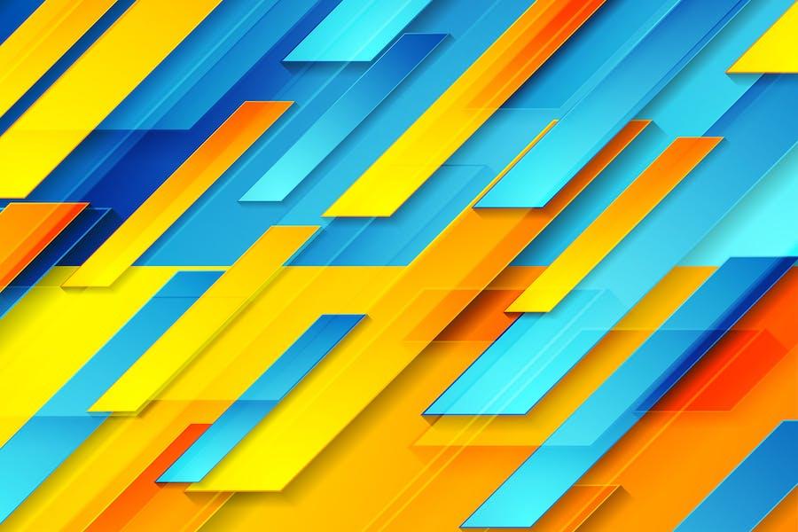 Blue orange glossy tech geometric background
