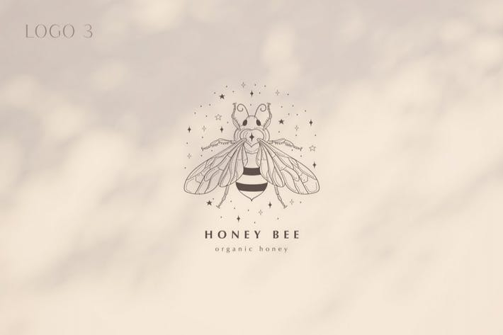 Premade Honey Bee Brand Logo Design for Blog.
