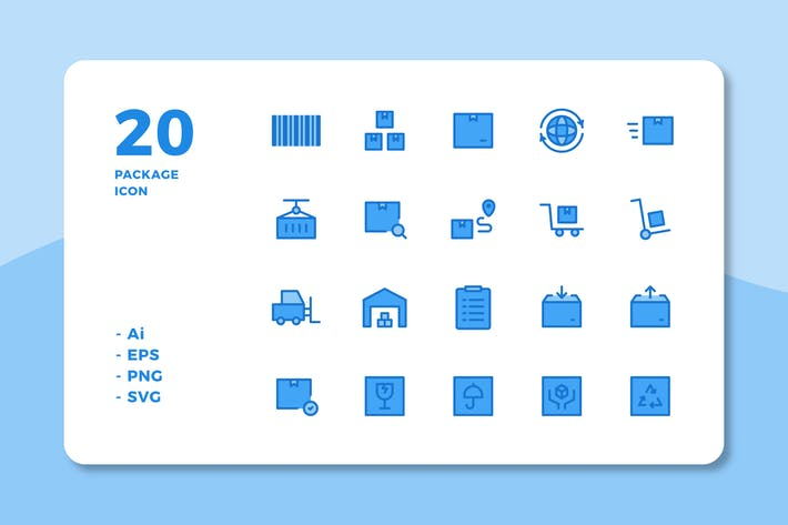 Thumbnail for 20 Package Icons (Lineal Color)