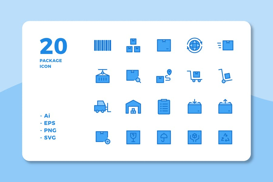 20 Package Icons (Lineal Color)