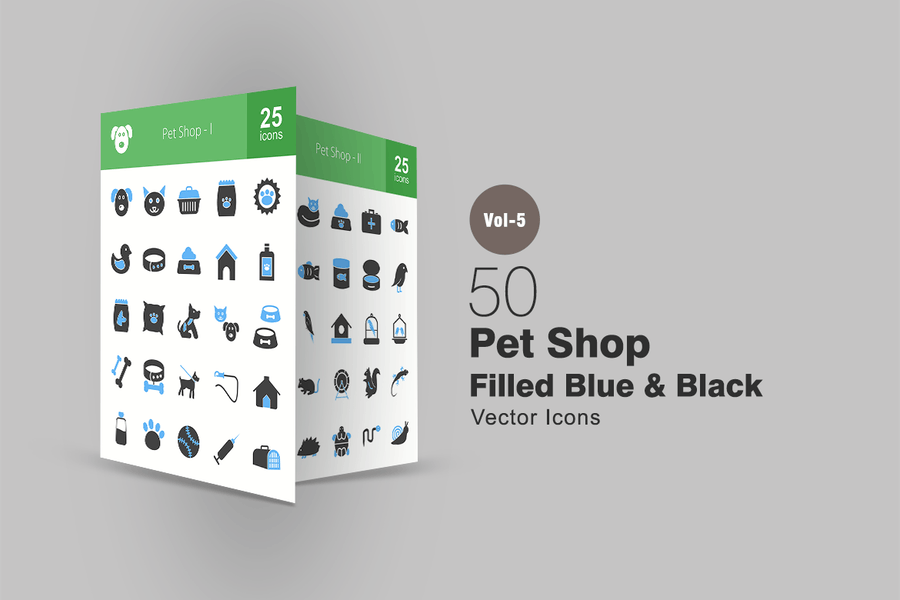 50 Pet Shop Blaue & Schwarze Icons