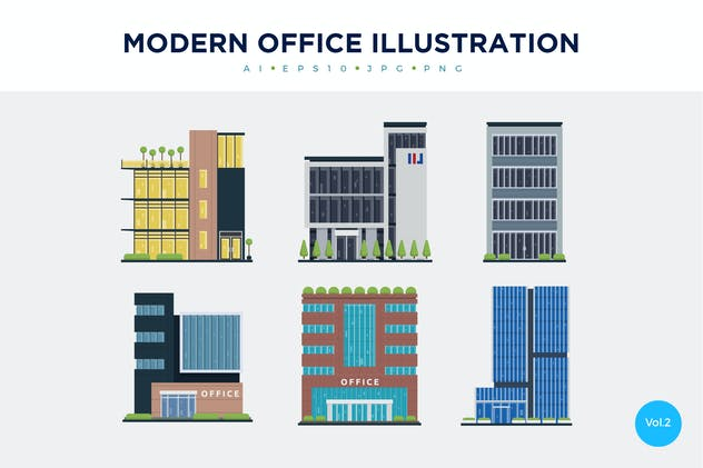 6 Modern Office Vector Illustration Set 2