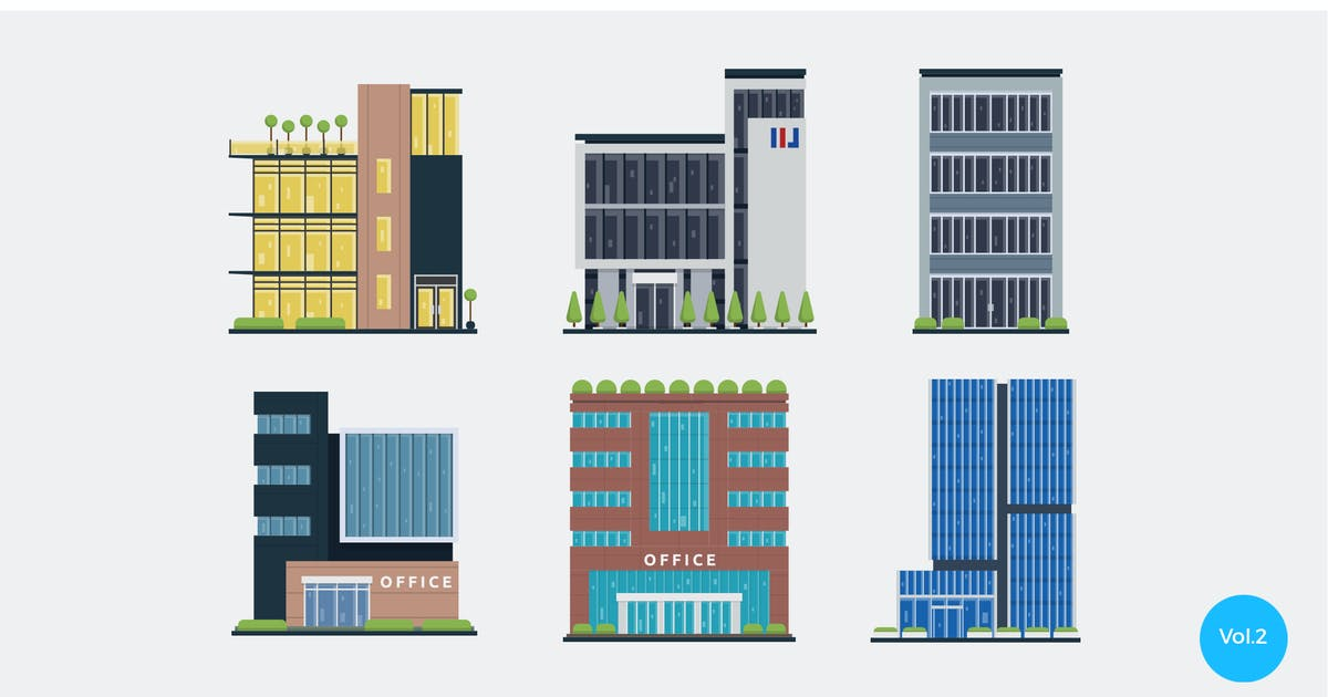 Download 6 Modern Office Vector Illustration Set 2 by naulicrea