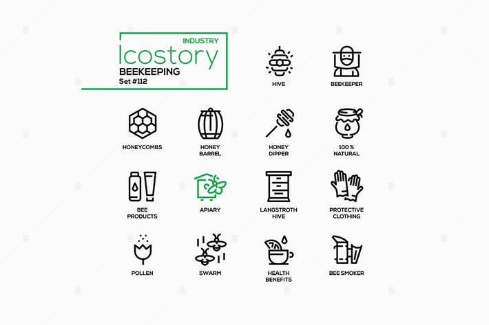 Thumbnail for Beekeeping industry - line design style icons