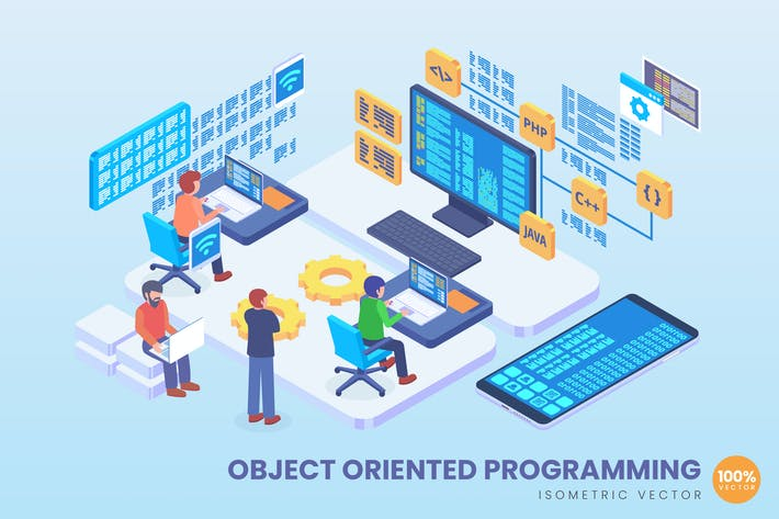 Thumbnail for Isometric Object Oriented Programming Vector
