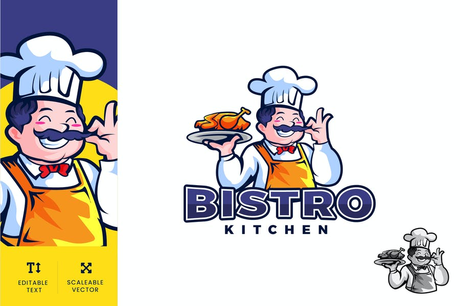 Bistro Kitchen Food Logo Illustration Vector - product preview 0