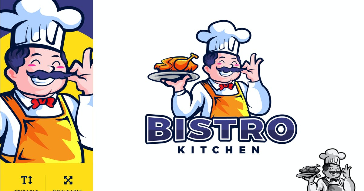 Download Bistro Kitchen Food Logo Illustration Vector by naulicrea